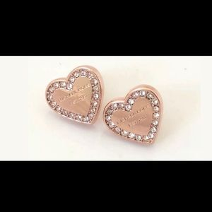 Jewelry - MK LOGO GOLD PLATED DESIGNER CRYSTAL HEART STUDS
